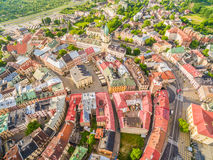 Lublin - the landscape of the old city from the air. Attractions Lublin from the air. Royalty Free Stock Photo