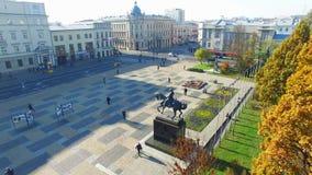 Lublin, Litewski-Vierkant vóór wederopbouw, Polen, oude stad, luchtmening stock footage