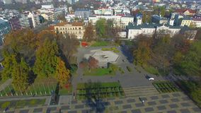 Lublin, Litewski-Vierkant vóór wederopbouw, Polen, oude stad, luchtmening stock videobeelden