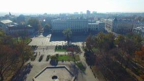 Lublin, Litewski-Vierkant vóór wederopbouw, Polen, oude stad, luchtmening stock video