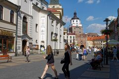Lublin, Lubelskie, Poland. Main pedestrian mall Krakowskie Przedmiescie in downtown Lublin, one  the most important cities in Poland`s history stock photography