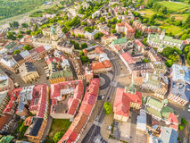 Lublin - the old city from the air. Attractions Lublin view from the air. Royalty Free Stock Photos