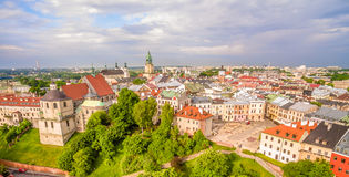 Lublin - the old city from the air. After Farze Square and other tourist attractions - the view from the air. Stock Photos