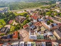 Lublin - the old city from the air. After Farze Square and other tourist attractions - the view from the air. Royalty Free Stock Image