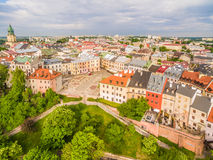 Lublin - the old city from the air. After Farze Square and other tourist attractions - the view from the air. Royalty Free Stock Photo
