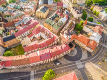 Lublin - the old city from the air. Gate Krakow and other attractions - a view from the air. Stock Photos