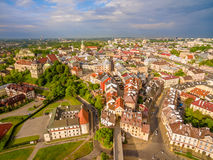 Lublin - the old city from the air. Grodzka Gate and other attractions - a view from the air. Stock Photography