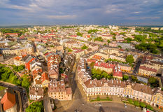 Lublin - the old city from the air. Grodzka Gate and other attractions - a view from the air. Royalty Free Stock Photography