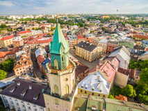 Lublin - the old city from the air. Old Crown Court and other attractions - a view from the air. Royalty Free Stock Images