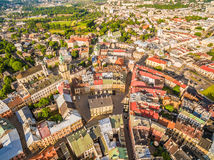 Lublin - the old city from the air. Old Crown Court and other attractions - a view from the air. Royalty Free Stock Image