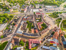 Lublin - old city from the bird`s eye view. Townhouses and buildings near Lubelskie Castle. Royalty Free Stock Photos