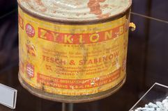 Empty poison gas canisters of Zyklon B. stock photography