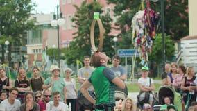 Mantega Juggler Performes the Show on the Street Royalty Free Stock Image