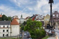 LUBLIN POLEN - JUNI 02, 2016 Beskåda den gamla staden för od av Lublin på Ju Arkivfoton