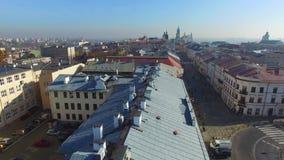 Lublin, Polen, 09 2017, oude stad, luchtmening stock footage