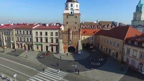 Lublin, Polen, 09 2017, oude stad, luchtmening stock video