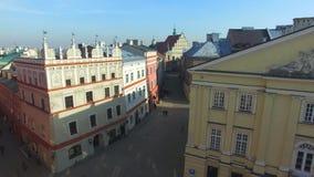 Lublin, Polen, 09 2017, oude stad, luchtmening stock videobeelden