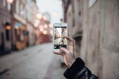 Lublin Polen sikten av gatan i gammal stad royaltyfri bild