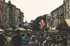 LUBLIN, rua do cie do› de Krakowskie PrzedmieÅ do POLÔNIA 25 de junho de 2017 -, dow Imagens de Stock Royalty Free