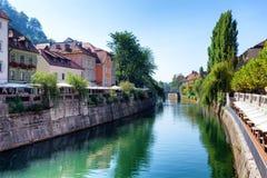 Lubljanica flod i Ljubljana Slovenien Fotografering för Bildbyråer