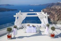 Ślubna dekoracja na Santorini Zdjęcie Stock