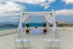 Ślubna dekoracja na Santorini, Grecja Zdjęcia Stock