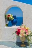 Ślubna dekoracja w alkierza okno Obrazy Royalty Free