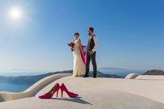 Ślubna para na dachu Zdjęcie Royalty Free