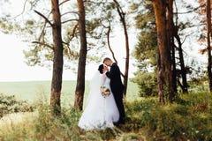 Ślubna para w lesie Zdjęcie Stock