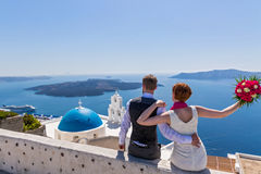 Ślubna para w Santorini Obraz Royalty Free