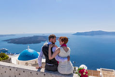 Ślubna para w Santorini Obraz Stock