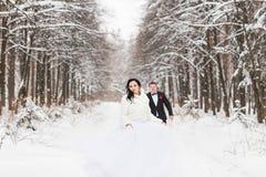 Ślubna para w zimie Zdjęcia Stock