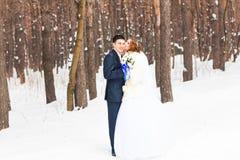 Ślubna para w zimie Obrazy Stock