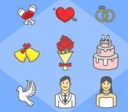 Ślubna Prosta ikony paczka Royalty Ilustracja