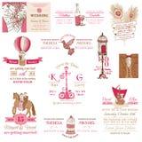 Ślubna rocznika zaproszenia kolekcja Obraz Royalty Free