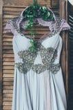 Ślubna suknia w stylowym boho Obraz Royalty Free