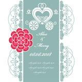 Ślubna zaproszenie karta z frachtem Obraz Royalty Free