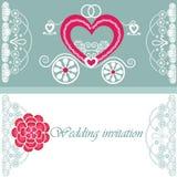 Ślubna zaproszenie karta z frachtem Zdjęcie Royalty Free
