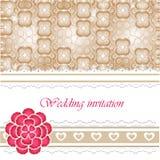 Ślubna zaproszenie karta z koronkowymi elementami Zdjęcie Stock