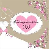 Ślubna zaproszenie karta z kwiecistymi elementami Obrazy Royalty Free