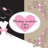 Ślubna zaproszenie karta z kwiecistymi elementami Zdjęcie Royalty Free