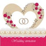 Ślubna zaproszenie karta z kwiecistymi elementami. Fotografia Royalty Free