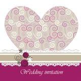 Ślubna zaproszenie karta z kwiecistymi elementami. Obraz Royalty Free
