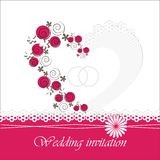 Ślubna zaproszenie karta z kwiecistymi elementami Zdjęcia Stock