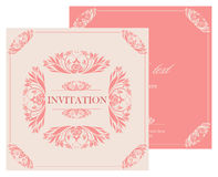 Ślubna zaproszenie rocznika karta z kwiecistymi i antykwarskimi dekoracyjnymi elementami Obrazy Royalty Free