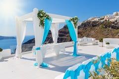 Ślubne dekoracje w Santorini Zdjęcia Stock