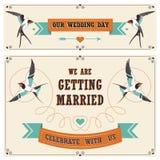 Ślubne rocznika zaproszenia karty Zdjęcia Stock