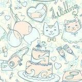 Ślubnej kreskówki pastelowy bezszwowy wzór Zdjęcie Royalty Free