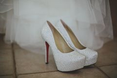 Ślubni bide buty Fotografia Royalty Free