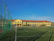 Lubno, Poland - july 9 2018:An open stadium in the courtyard of a village school. Eduction of the younger generation. Sports royalty free stock photos